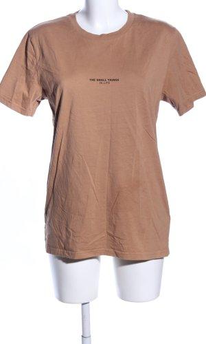 T-Shirt braun Schriftzug gedruckt Casual-Look
