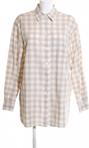HOFFMANN Long Sleeve Shirt natural white check pattern casual look