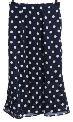 Ichi Volanten rok donkerblauw-wolwit gestippeld patroon casual uitstraling