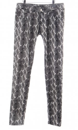 Invictus Pantalón elástico negro-blanco estampado con diseño abstracto