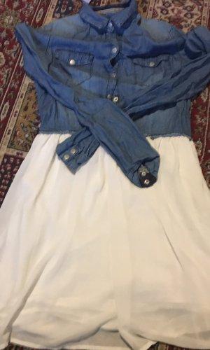 Bershka Robe chemise crème-bleu foncé