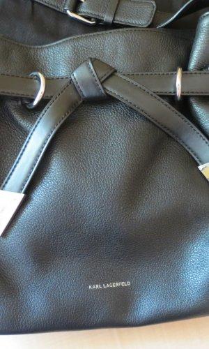 Karl Lagerfeld Handtasche Hobo Bag Tote Bag Echtleder Schwarz Silber wie neu