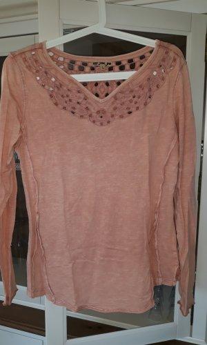 Khujo Gehaakt shirt roze Katoen