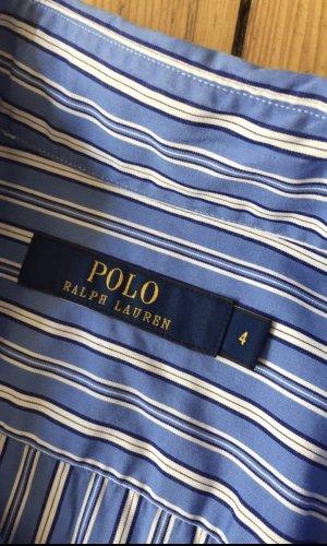 Polo Ralph Lauren Robe chemise bleu fluo-blanc coton