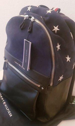 Tommy Hilfiger Sac à dos pour ordinateur portable bleu foncé-noir cuir