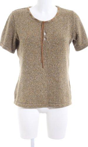 Sweater met korte mouwen bruin gestippeld zakelijke stijl