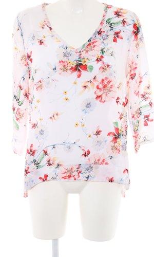 Langarm-Bluse Blumenmuster Casual-Look