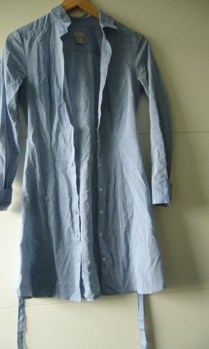 Langbluse Long-Bluse hellblau Taillenschnürung H&M XS 34 100% Baumwolle