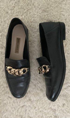 Zara Basic Moccasins black-gold-colored leather