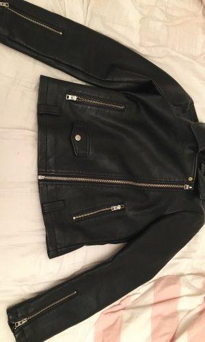 Topshop Faux Leather Jacket black