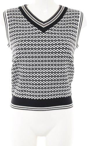 Feinstrickpullunder schwarz-weiß grafisches Muster Business-Look