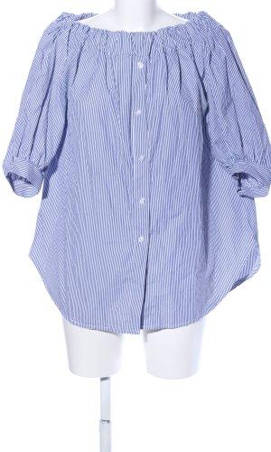 Lange blouse blauw volledige print zakelijke stijl