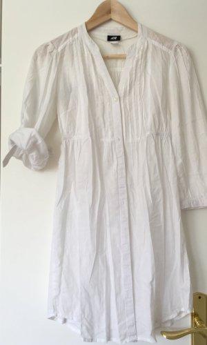 Longbluse Blusenkleid Tunika von H&M in weiß mit Plissee 34/36 XS/S