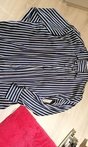 Zara Trafaluc Lange blouse wit-donkerblauw