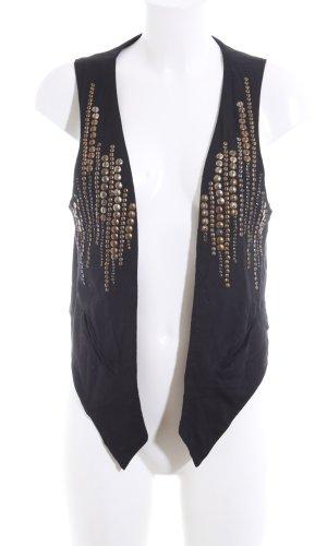 Chaleco de punto largo negro-color bronce look casual