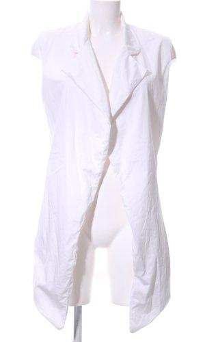 Chaleco de punto largo blanco look casual