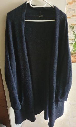 Chaleco de punto largo azul oscuro