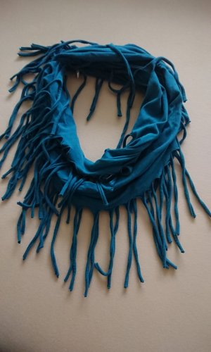 Écharpe ronde bleu pétrole tissu mixte