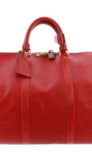 Louis Vuitton Bolso de viaje rojo Cuero