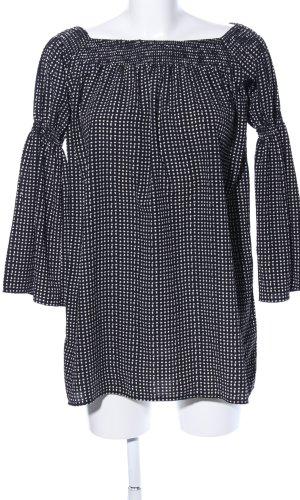 Love Lange blouse zwart-wit geruite print casual uitstraling