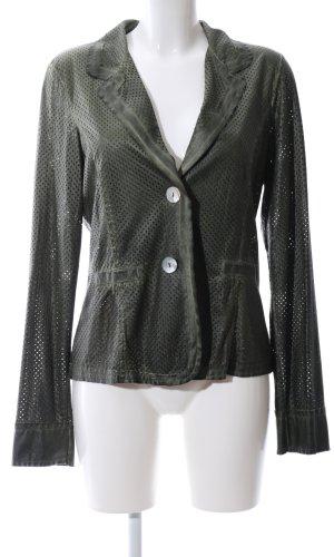 Made in Italy Kurz-Blazer khaki Punktemuster Business-Look