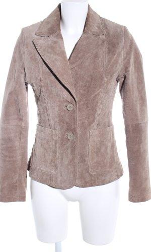 Madonna Chaqueta de cuero marrón-blanco puro estilo «business»