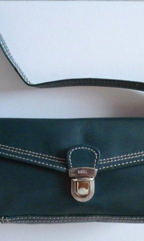 Mango Pochette bzw. Schultertasche, echtes Leder, petrol, 70ies-Look