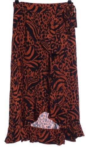 Minimum Wikkelrok zwart-donker oranje dierenprint straat-mode uitstraling