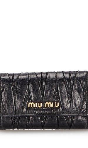 Miu Miu Key Case black leather