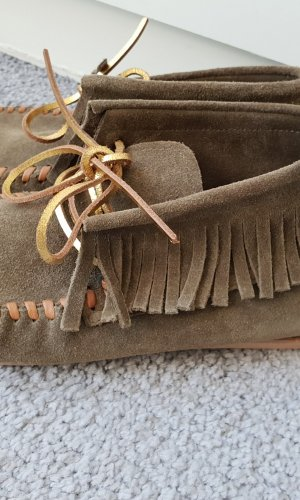 Closed Moccasins green grey suede