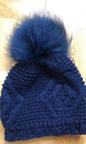 Chapeau en fourrure bleu foncé-bleu pelage