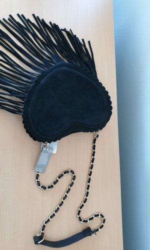 H&M Premium Fringed Bag black suede