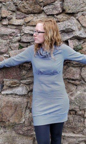 Sweaterjurk donkerblauw-wit