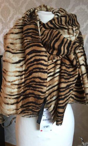 Neu Zara XL Tiger Schal Tuch Leo Animal Print