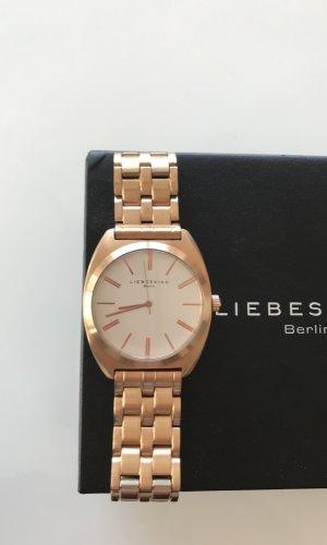 Liebeskind Reloj con pulsera metálica blanco-marrón arena