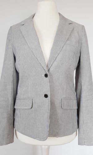 H&M Lange blazer wit-donkerblauw