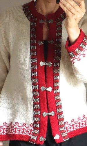 Vintage Cárdigan de estilo noruego crema-rojo oscuro lana de esquila