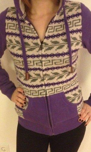 Cárdigan de estilo noruego violeta oscuro-beige