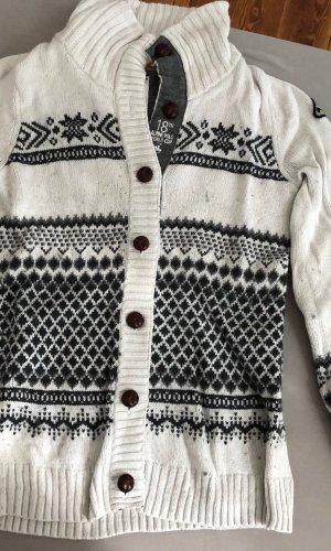 Tom Tailor Cárdigan de estilo noruego blanco puro-gris antracita