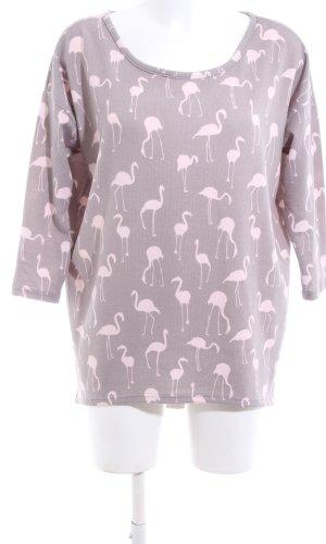 Only Sweater met korte mouwen lichtgrijs-roze volledige print casual uitstraling