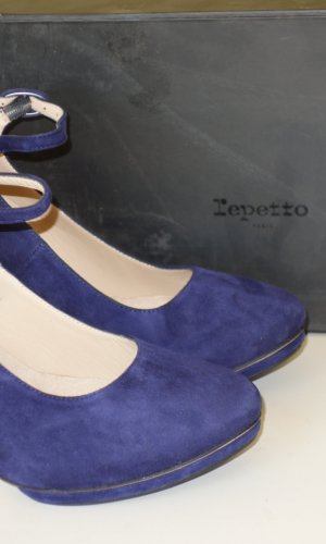 Repetto Escarpins Mary Jane bleu foncé daim