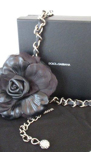 Dolce & Gabbana Cinturón de cadena negro-color plata Cuero