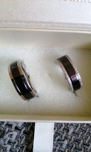 Partnerring zwart-zilver