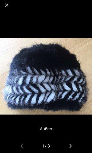 Chapeau en fourrure noir-blanc fourrure
