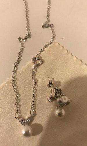 Colgante color plata-blanco plata verdadero
