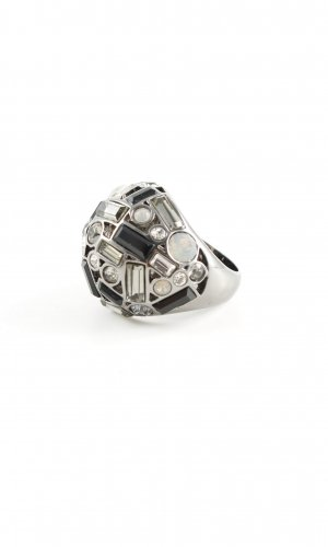 Pippa & Jean Statement Ring silver-colored-black extravagant style