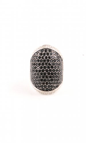 Pompöös Silver Ring gold-colored-black business style