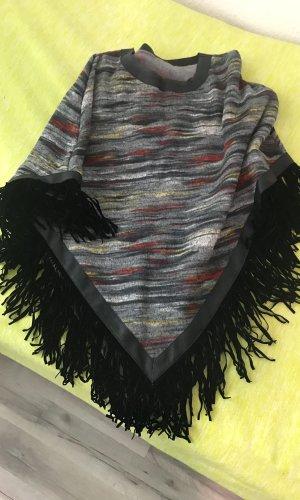 Poncho para lluvia gris oscuro-negro