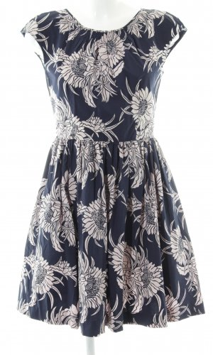 Prada A Line Dress blue-natural white flower pattern party style
