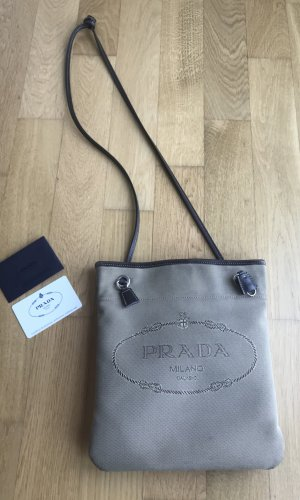 Prada Milano Jaquard Leder Bag Umhängetasche Logo Tasche